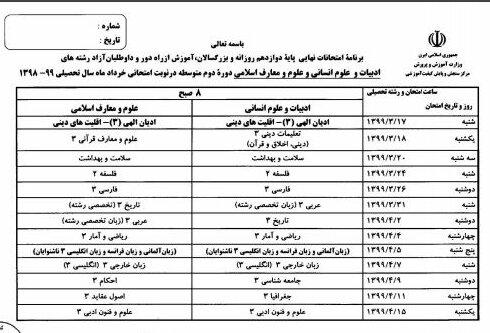 امتحانات نهایی خرداد 99